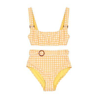 gingham check pattern bikini top & belted gingham check bikini pants